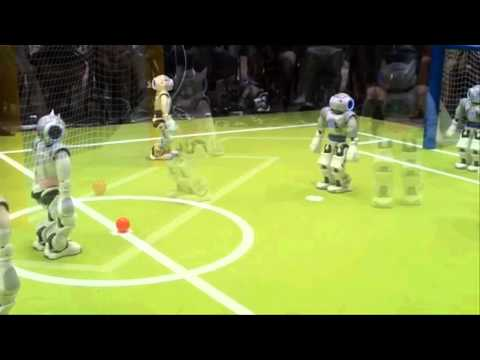 Robots playing Soccer for RoboCup. They may win Humans in World Cup within few Decades.