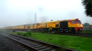 Welcome Monsoon - WDP-3A Hauled 22120 Tejas Express Cruising Past In Heavy Thunderstrom!!!!