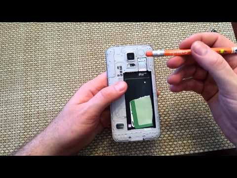 Samsung Galaxy S5 Remove install Back cover. Battery. Sim Card. SD memory Card replace insert