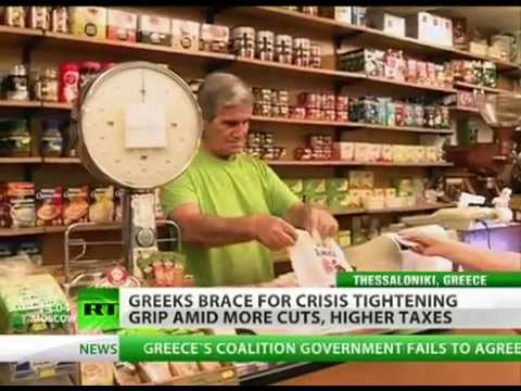 HARSH CUTS in Greece as TAXES RISE and more cuts to come. MAJOR cities PROTEST about EUROZONE