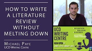 How to Write a Literature Review (UCD Writing Centre)