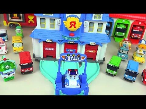 Robocar Poli car toy rescue center and Kinder Joy Surprise eggs toys