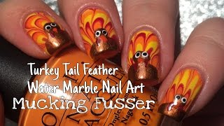 Thanksgiving Nail Art Tutorial Water Marbled Turkey Tail Feathers