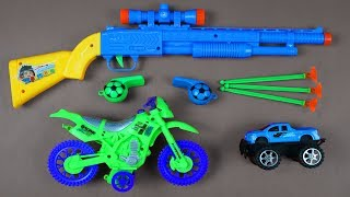 BOX OF TOYS with Johny Johny Yes Papa Song ! Whats in the box? Colored Toy Guns with Learn Colors