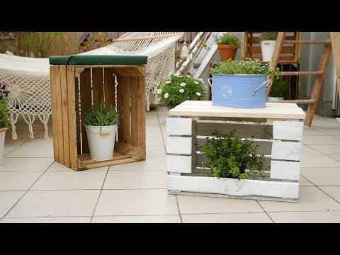 Project Tutorial: Tisch und Hocker aus Obstkisten bauen. DIY-Idee.