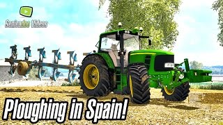 Ploughing in Spain - John Deere 7230P + lemken plough