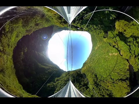 【360度パノラマ動画】綾の照葉大吊橋、3メートル高所からの視点