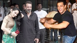 Sanjay Dutt's GRAND WELCOME At Salman Khan's Ganpati Visarjan 2018