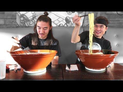 GIANT Ramen Challenge vs Morgan 3,000,000 Sub Video!