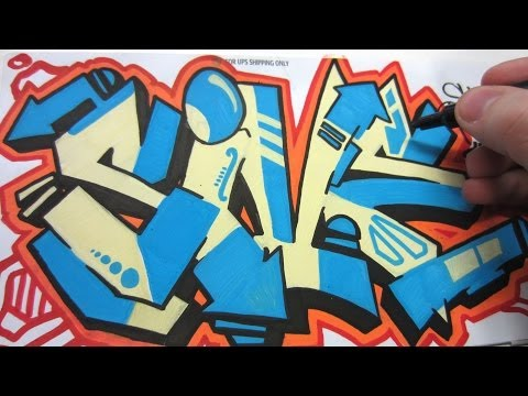 Straight Letter Paint Marker Graffiti Stickers