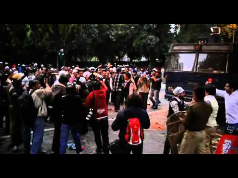 AAP supporters protest outside BJP HQ