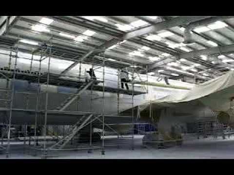 Silverjet Boeing 767 being painted in it s new livery