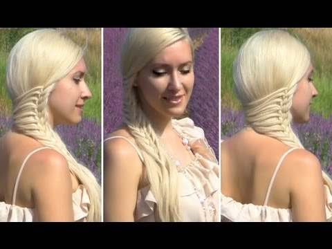 Romantic hairstyle for long hair with a side swept braid