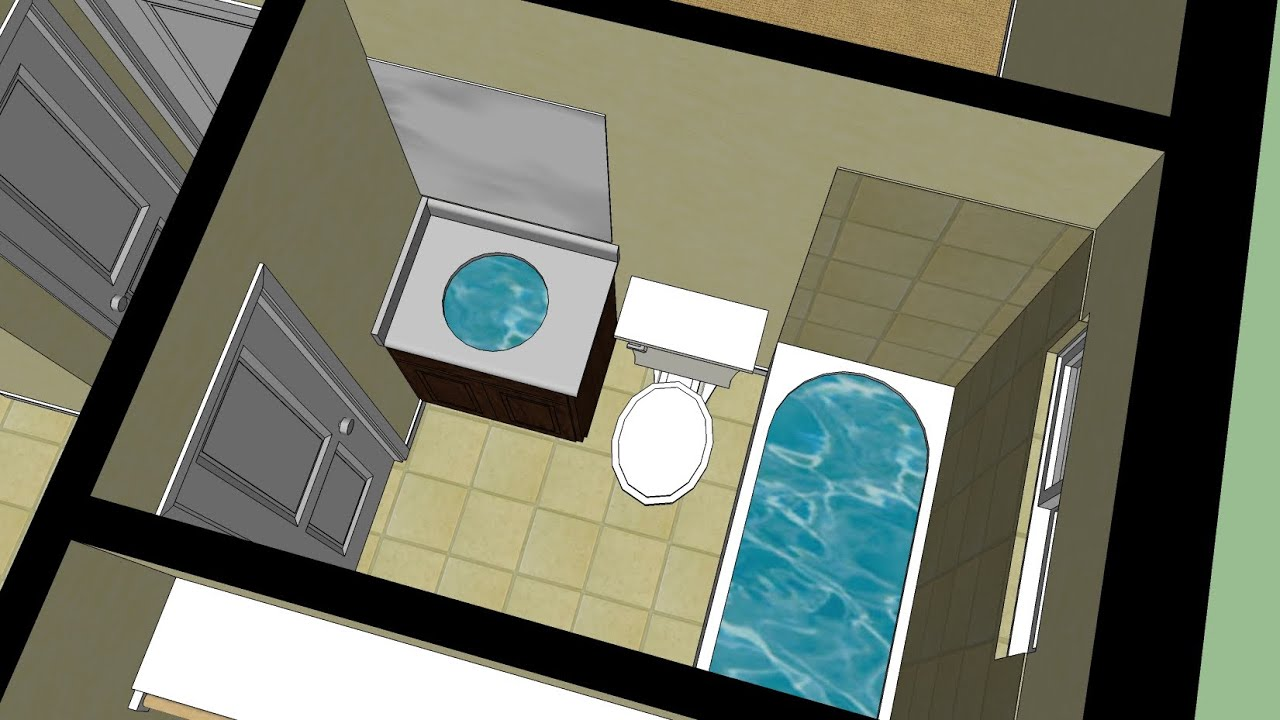 Sketchup House Tutorial Pt 8 Bathrooms Youtube