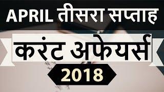 April 2018 Current Affairs in Hindi 3rd week part 1- IAS/SSC/IBPS/CDS/RBI/SBI/NDA/CLAT/KVS/DSSB/CTET