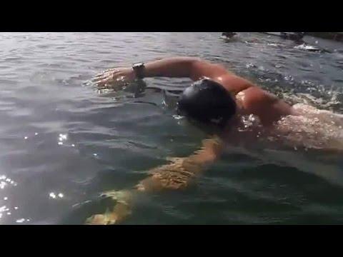Preparing to swim across the Atlantic