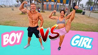 GIRL VS BOY GYMNASTICS CHALLENGE! *BAD IDEA*