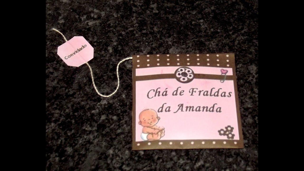 Passo a passo Convite de chá de beb u00ea fraldas YouTube -> Decoração Para Chá De Fraldas Masculino Passo A Passo