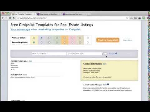 Free craigslist templates for real estate listings youtube for Real estate craigslist template