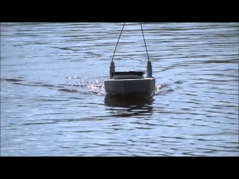 RC fishing boat. homemade. first test run.
