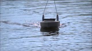 RC fishing boat, homemade, first test run.