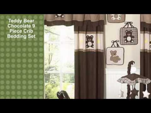0 Teddy Bear Chocolate 9 Piece Crib Bedding Set