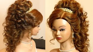 Curly romantic prom hairstyle for long hair tutorial