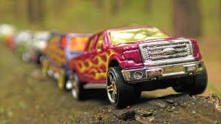 Cars for Kids in the Forest Transported by Dump Truck Toy