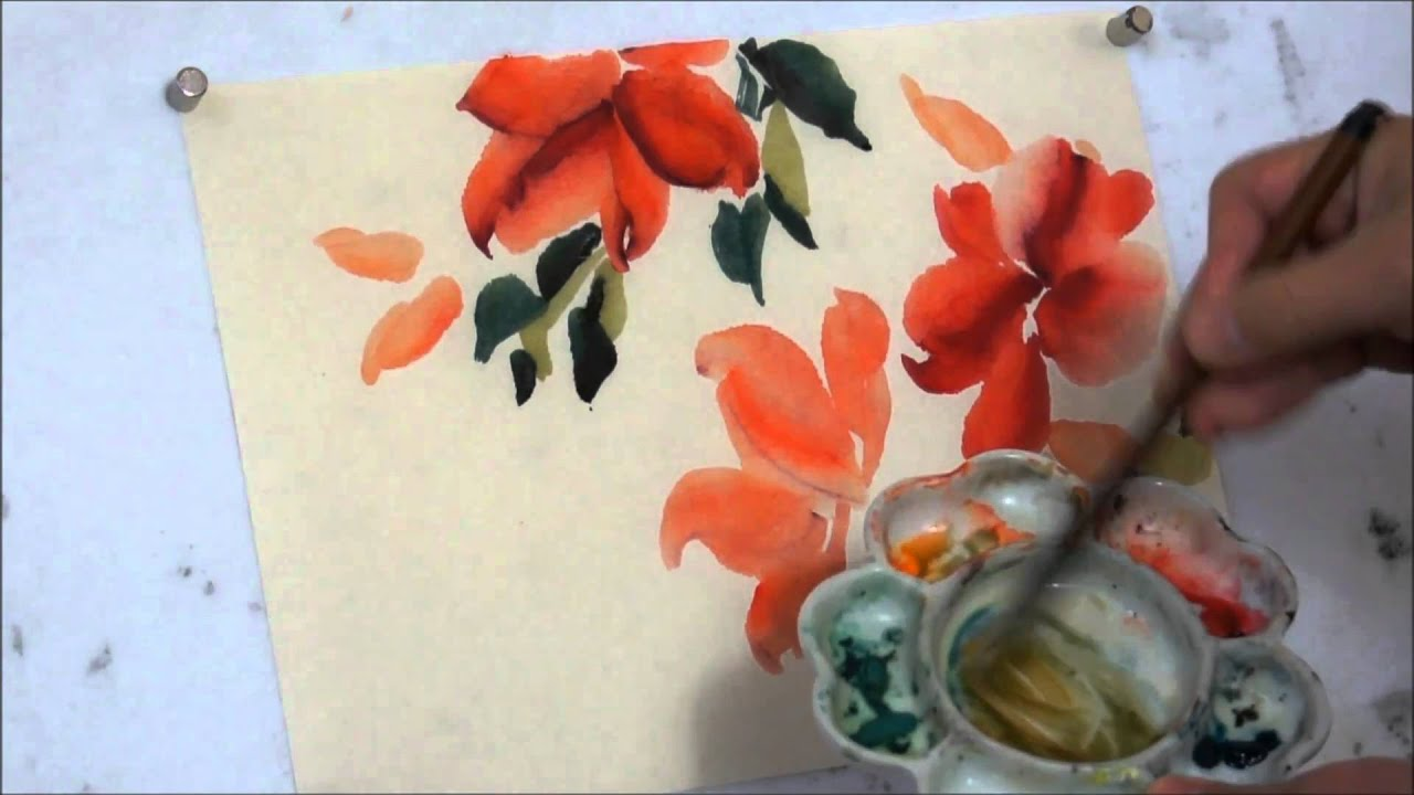 How To Paint Red Hot Hibiscus Chinese Watercolor Painting
