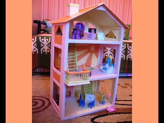 Как сделать дом для кукол только из картона 796