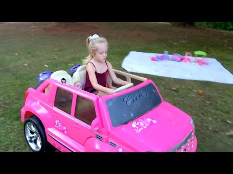 Watch  lil cutesies baby dolls in a park on outdoor picnic play date barbie power wheels car Movies