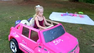 Lil Cutesies Baby Dolls in a Park on Outdoor Picnic Play Date Barbie Power Wheels Car