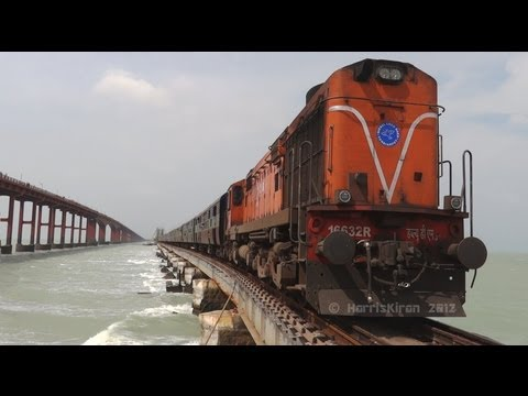 Train over the Sea ! Rameswaram Express on Pamban Bridge