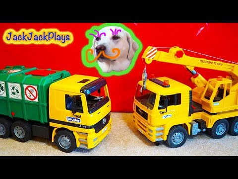 3 Kids Toy Trucks Surprise Toys Unboxing - Garbage Truck + Crane - Daddy's Toy Review 3