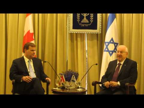 Israel President Reuven  Rivlin welcomes Canadian John Baird