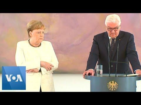 Germany39s Chancellor Merkel Seen Shaking as She Met President Frank-Walter Steinmeier