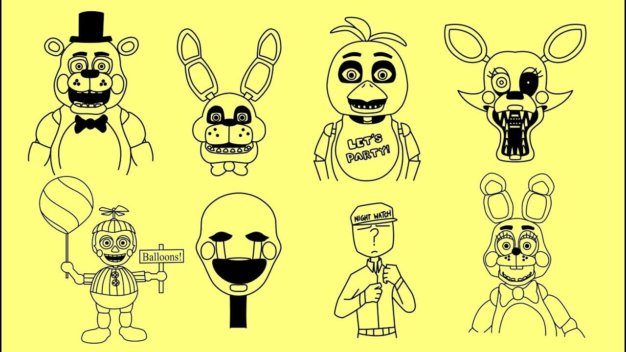 5 ночей с фредди все аниматроники нарисованные