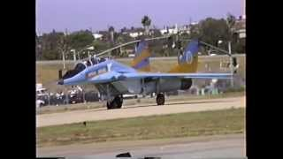 Ukrainian Air Force MiG-29UB Departing Hawthorne, CA