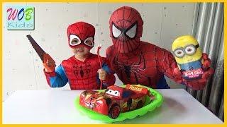 Siêu Nhân Người Nhện Rửa Xe Cho McQueen Tia Chóp! Spiderman car wash for McQueen!  WOB Kids!