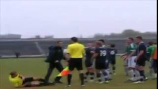 Referee in Ukraine takes a huge punch...