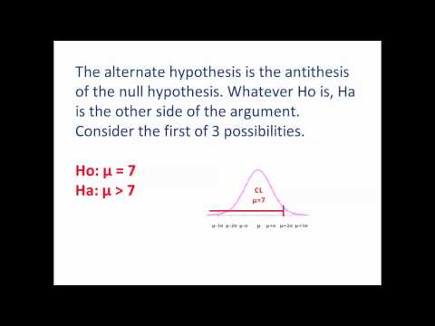 Statistics - 6 - Hypothesis Testing - 5 - Writing A One Tailed Alternate Hypothesis