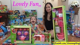 Kitchen Playsets for Kids: Magical Tea Set, Microwave Toy and Cleaning Playset Unboxing