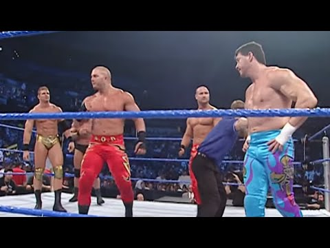 Rob Van Dam & Rey Mysterio defend their WWE Tag Team Titles against The Basham Brothers, Eddie Guerrero & Booker T and Mark Jindrak & Luther Reigns in a Fata...