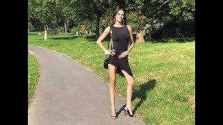 Lara walking to a party in 12 cm open toe pumps sandals in short dress Sandaletten sling backs mini