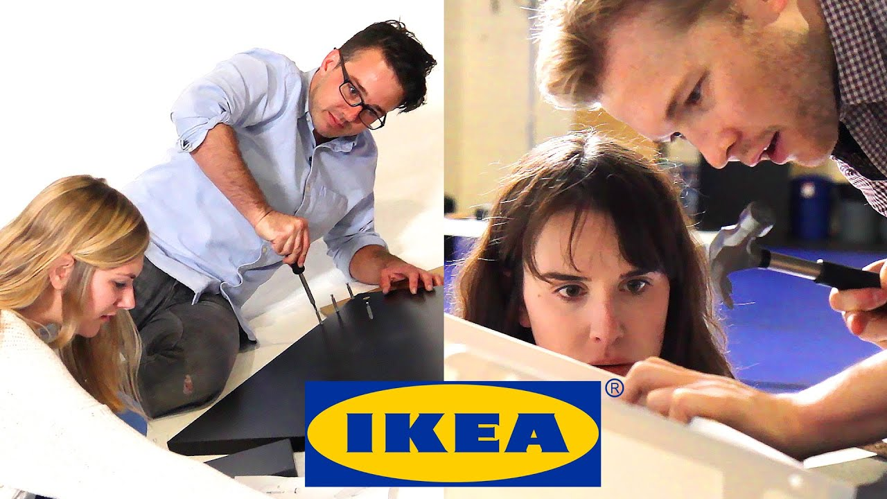 Couples race to build ikea furniture youtube for Someone to assemble ikea furniture