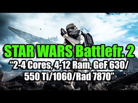 Тест STAR WARS Battlefront 2 (Beta) на слабом ПК (2-4 Cores, 4-12 Ram, GeF 630/550/1060, Rad 7870)