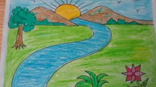 How to draw a landscape, kids drawing,mountains,drawing with basic shapes