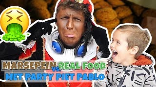 MARSEPEIN VS REAL FOOD MET PARTY PIET PABLO!! - Broer en Zus TV VLOG #240