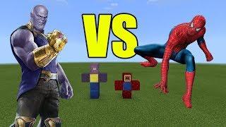 Thanos vs Spiderman | Minecraft PE Avengers Infinity War