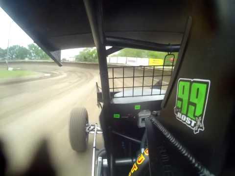 Tony Rost IMCA RaceSaver 305 Sprint Car Track Record Eagle Raceway 12.938 + wreck in car camera